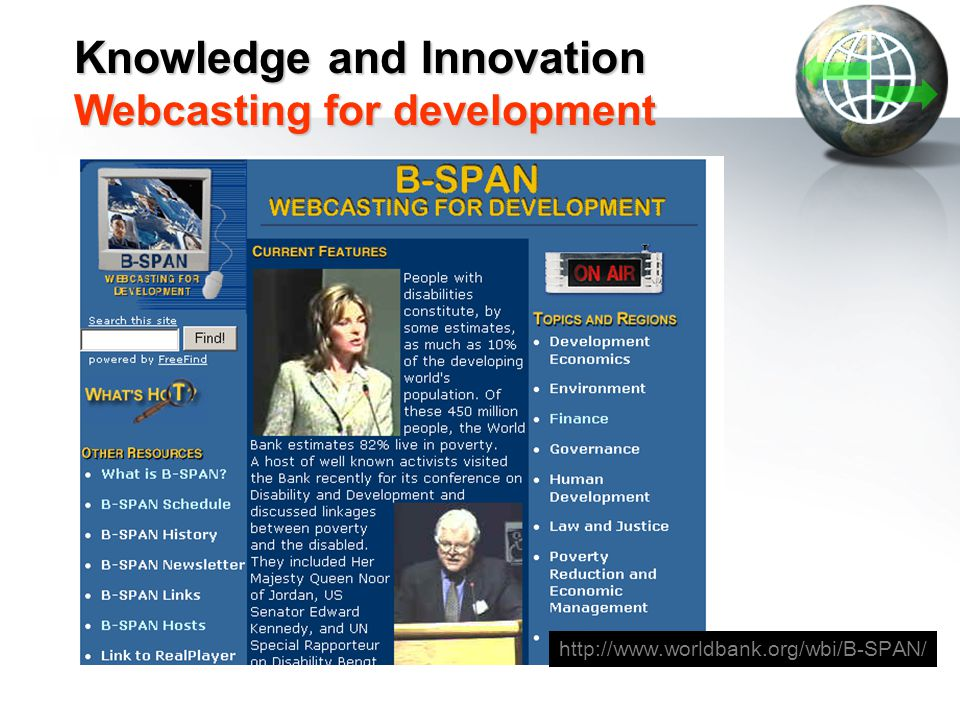 Knowledge and Innovation Webcasting for development