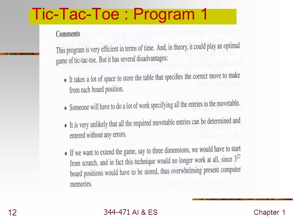 Tic-Tac-Toe : Program 1 344-471 AI & ES Chapter 1