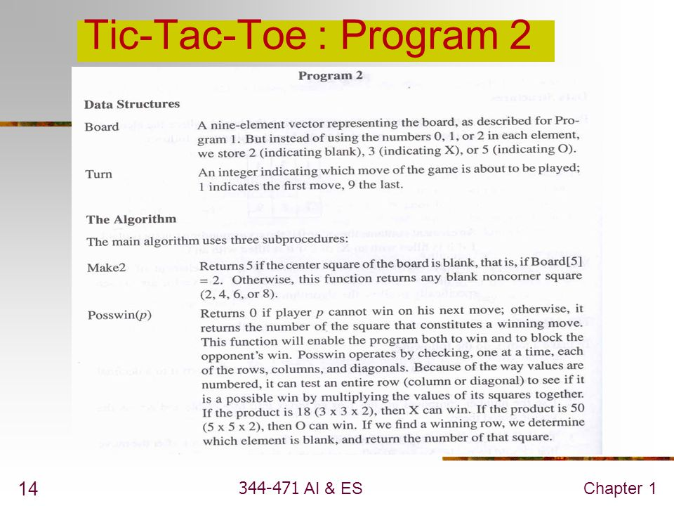 Tic-Tac-Toe : Program 2 344-471 AI & ES Chapter 1