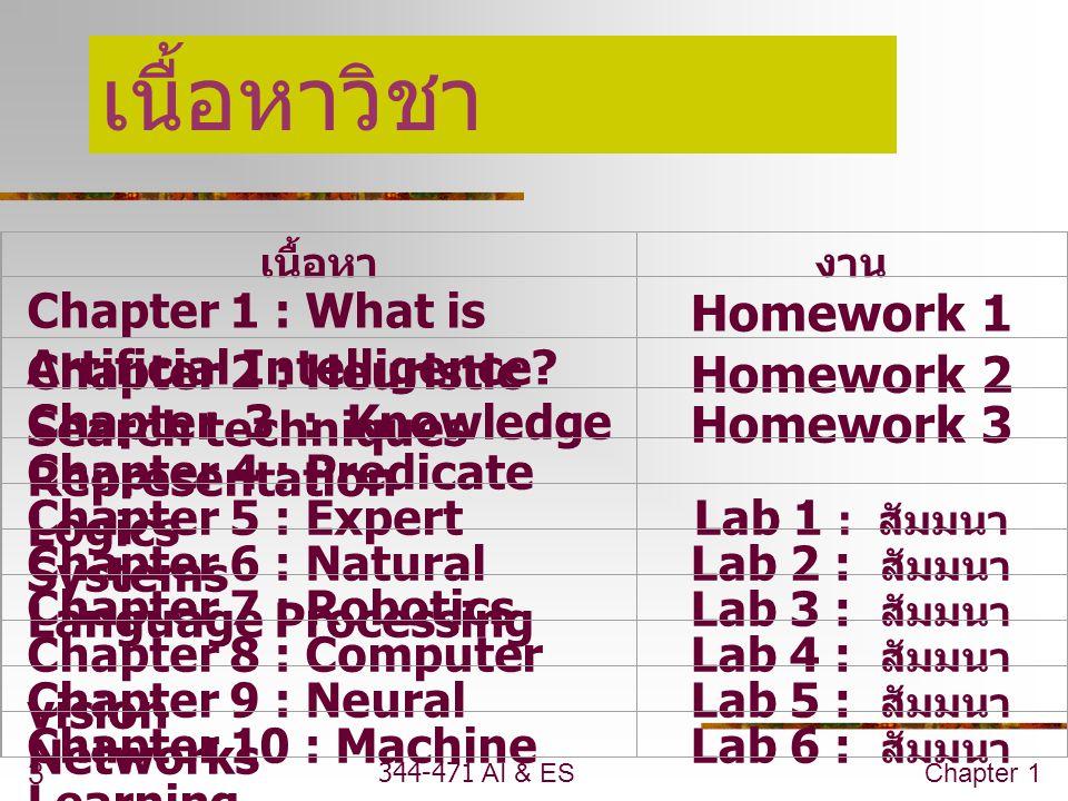 เนื้อหาวิชา Homework 1 Homework 2 Homework 3