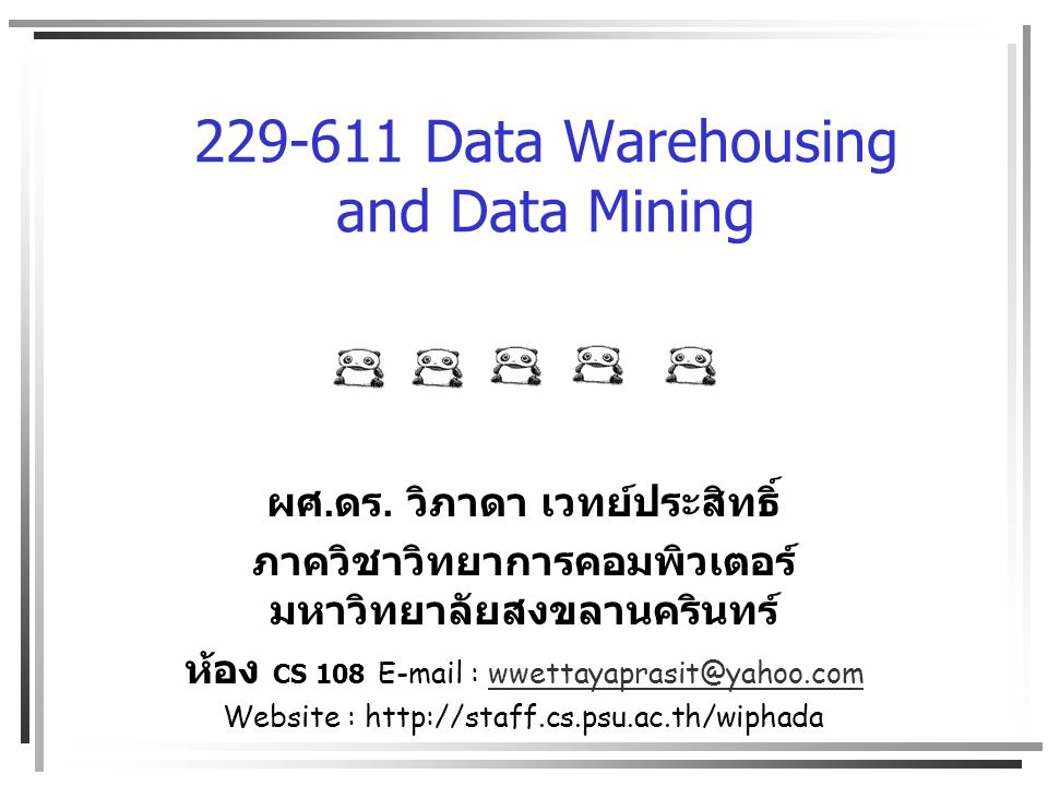 229-611 Data Warehousing and Data Mining