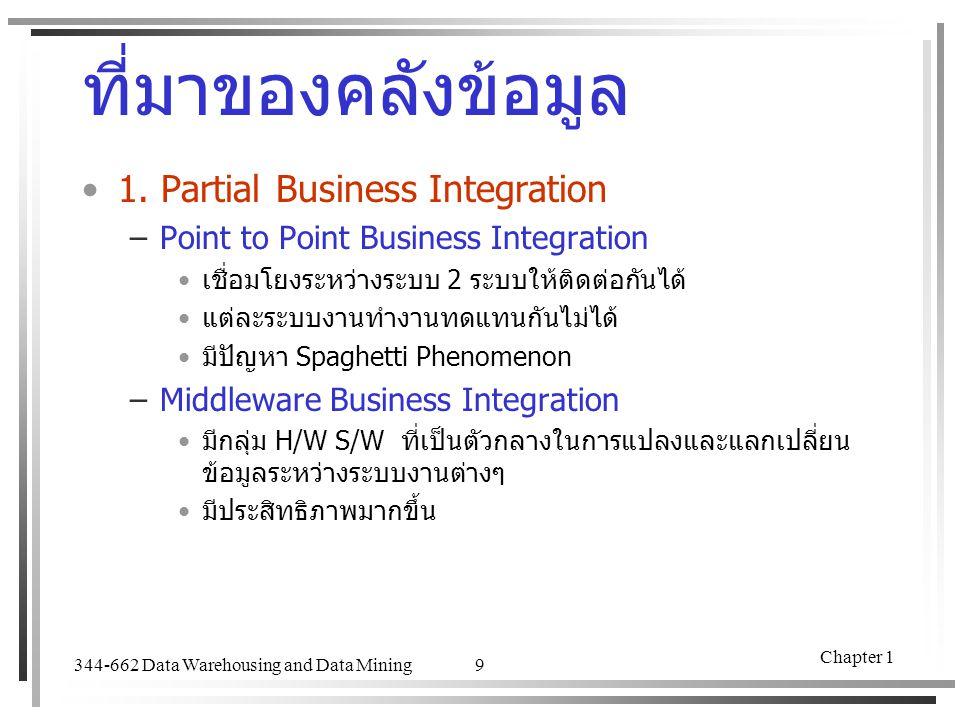 ที่มาของคลังข้อมูล 1. Partial Business Integration