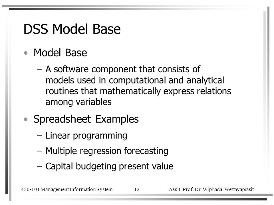 DSS Model Base Model Base Spreadsheet Examples