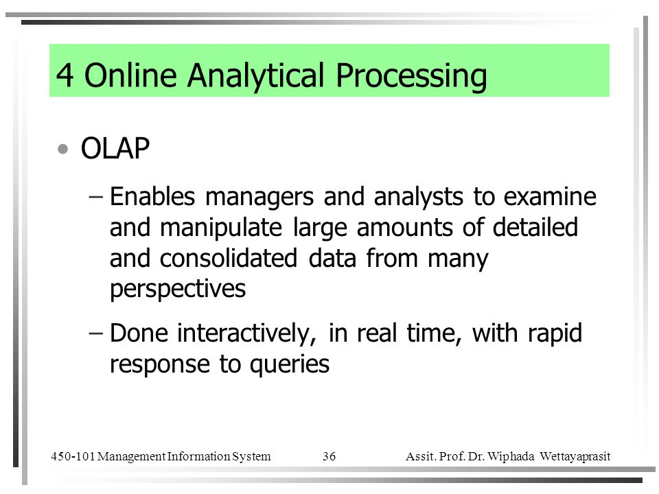 4 Online Analytical Processing