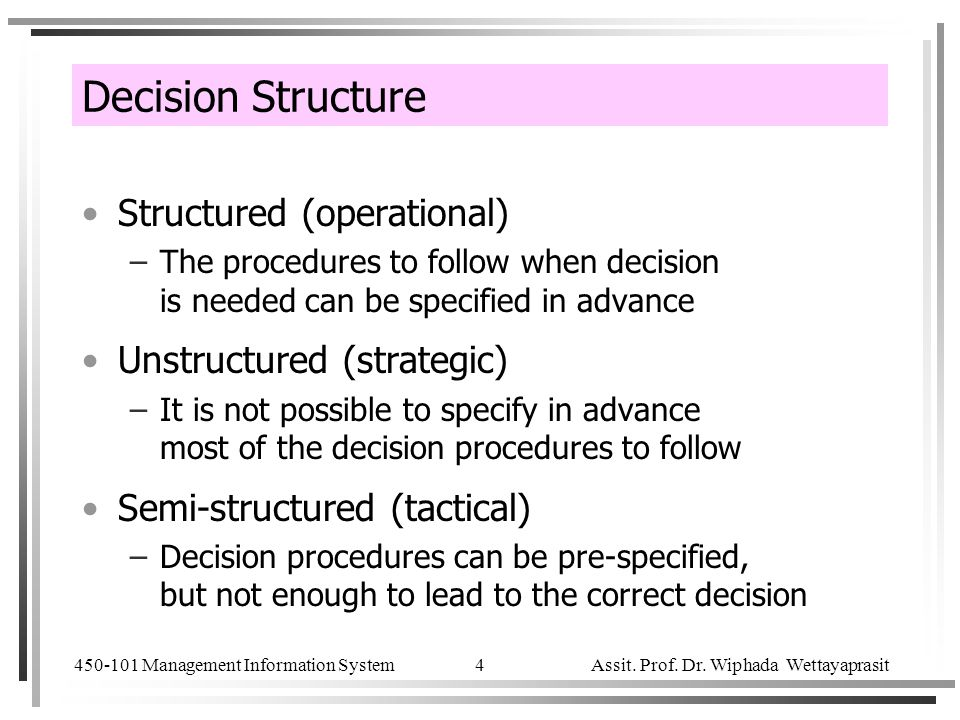 Decision Structure Structured (operational) Unstructured (strategic)