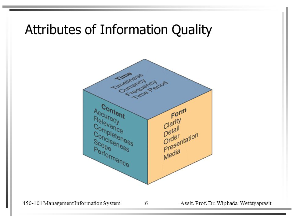 attributes of information Quality of information refers to its fitness for use or its reliability some of the attributes of information which influence the quality of information are as follows.