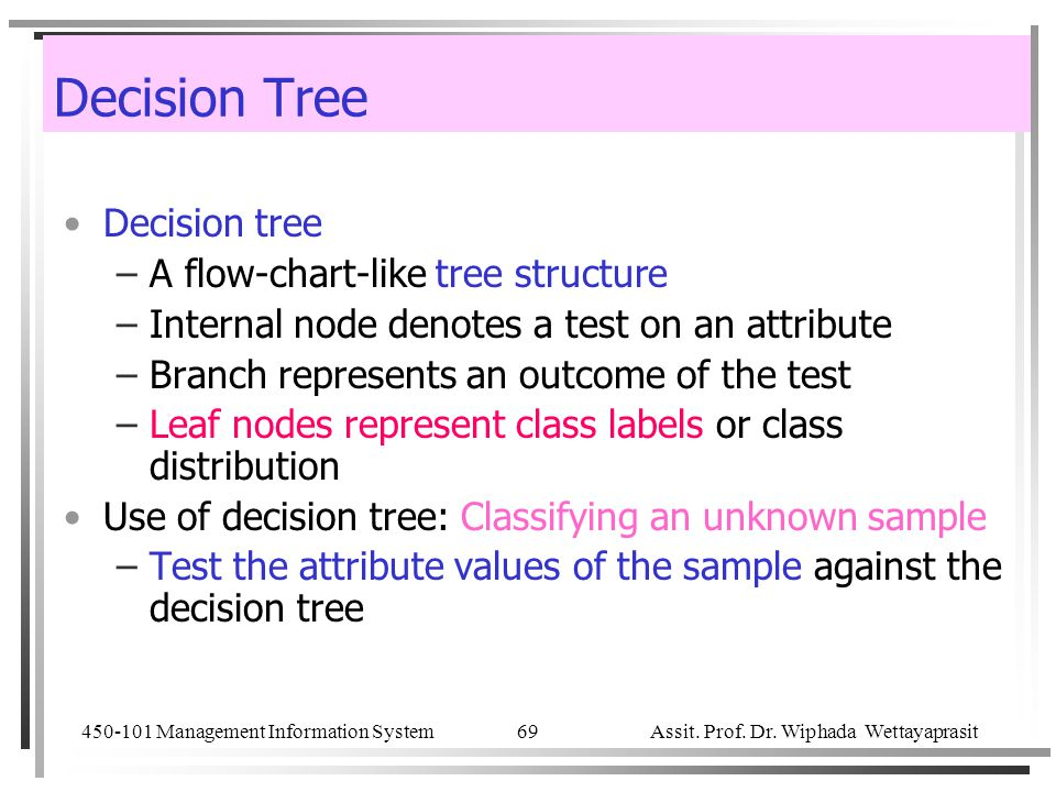 Decision Tree Decision tree A flow-chart-like tree structure