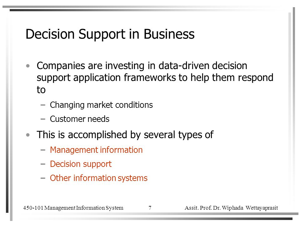Decision Support in Business