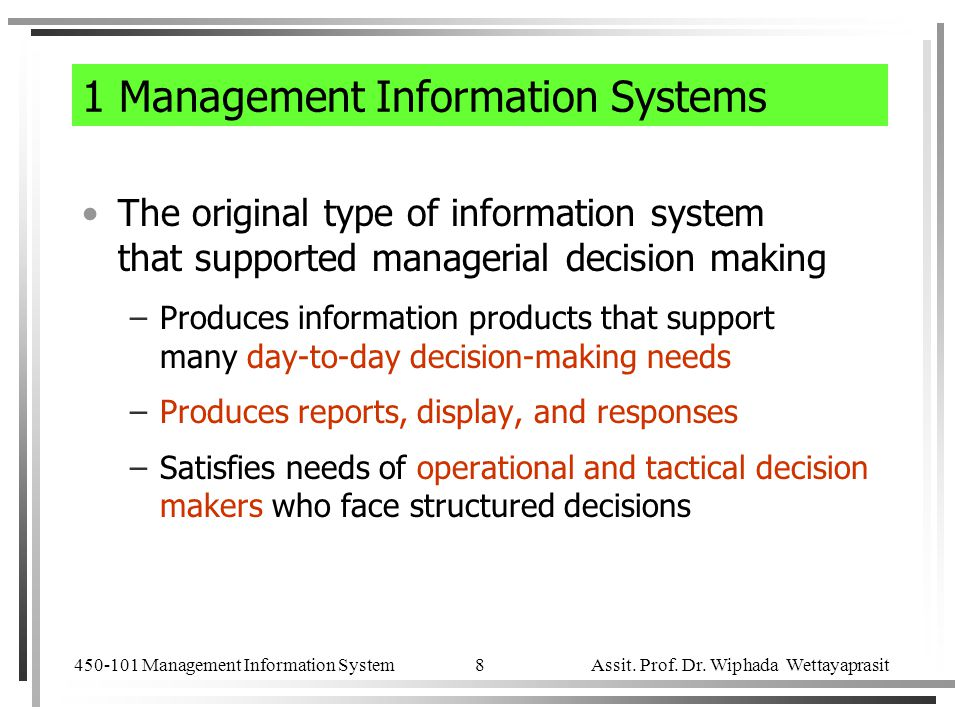 1 Management Information Systems