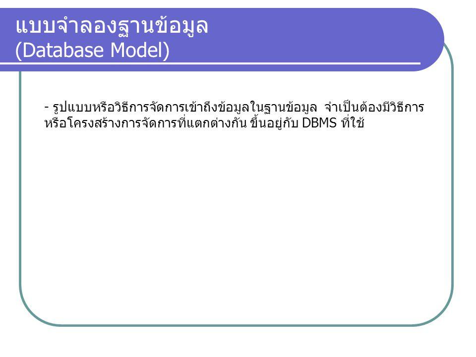 แบบจำลองฐานข้อมูล (Database Model)
