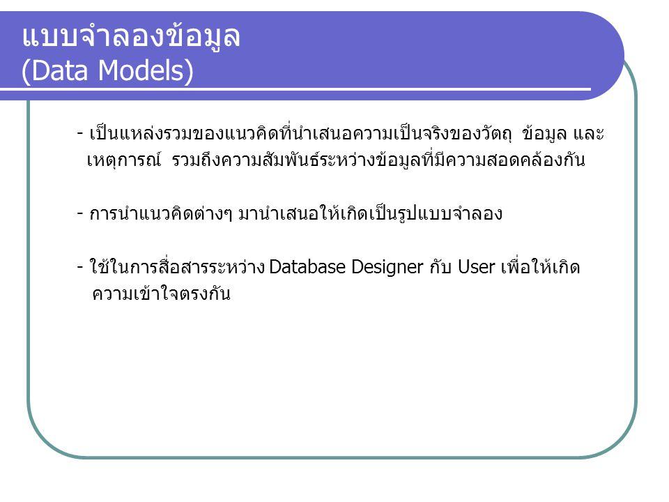 แบบจำลองข้อมูล (Data Models)