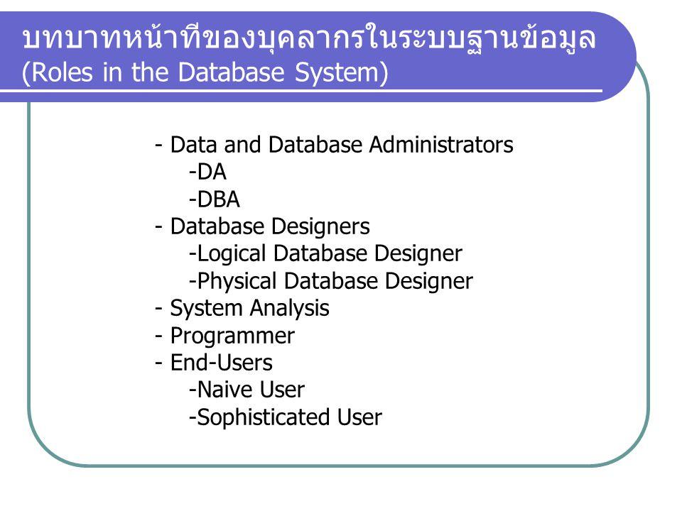 บทบาทหน้าทีของบุคลากรในระบบฐานข้อมูล (Roles in the Database System)
