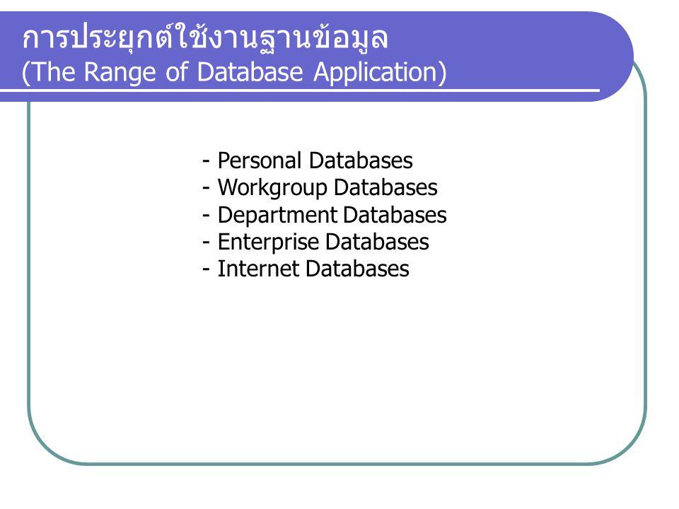 การประยุกต์ใช้งานฐานข้อมูล (The Range of Database Application)