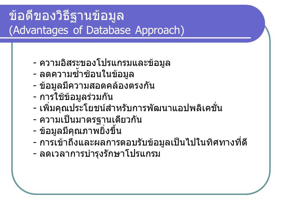ข้อดีของวิธีฐานข้อมูล (Advantages of Database Approach)
