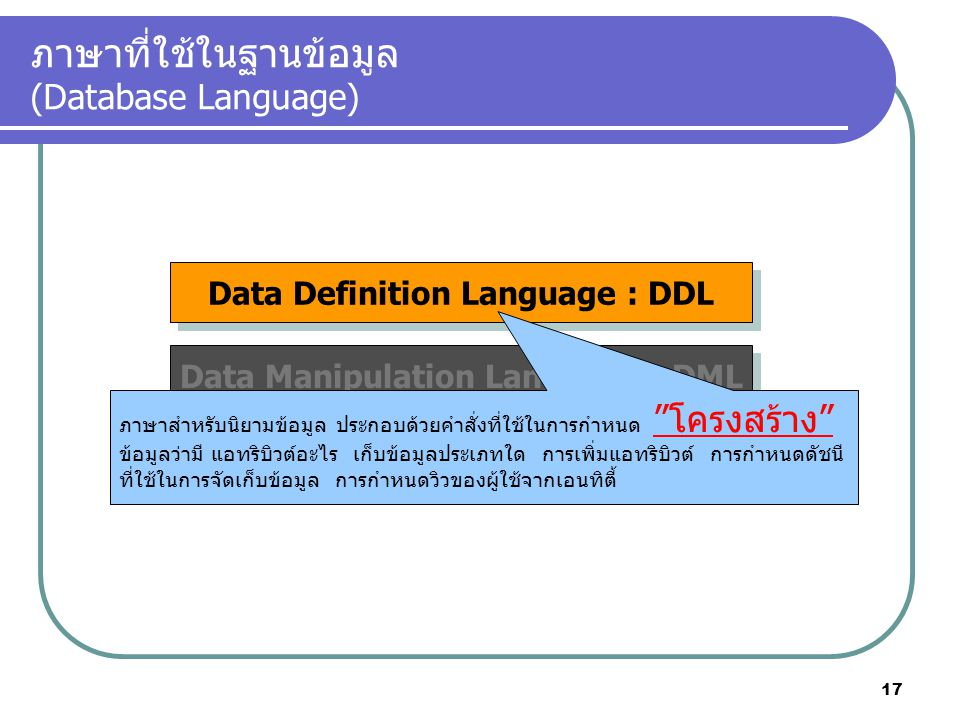 ภาษาที่ใช้ในฐานข้อมูล (Database Language)