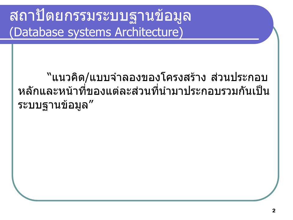 สถาปัตยกรรมระบบฐานข้อมูล (Database systems Architecture)