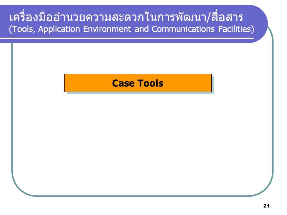 เครื่องมืออำนวยความสะดวกในการพัฒนา/สื่อสาร (Tools, Application Environment and Communications Facilities)