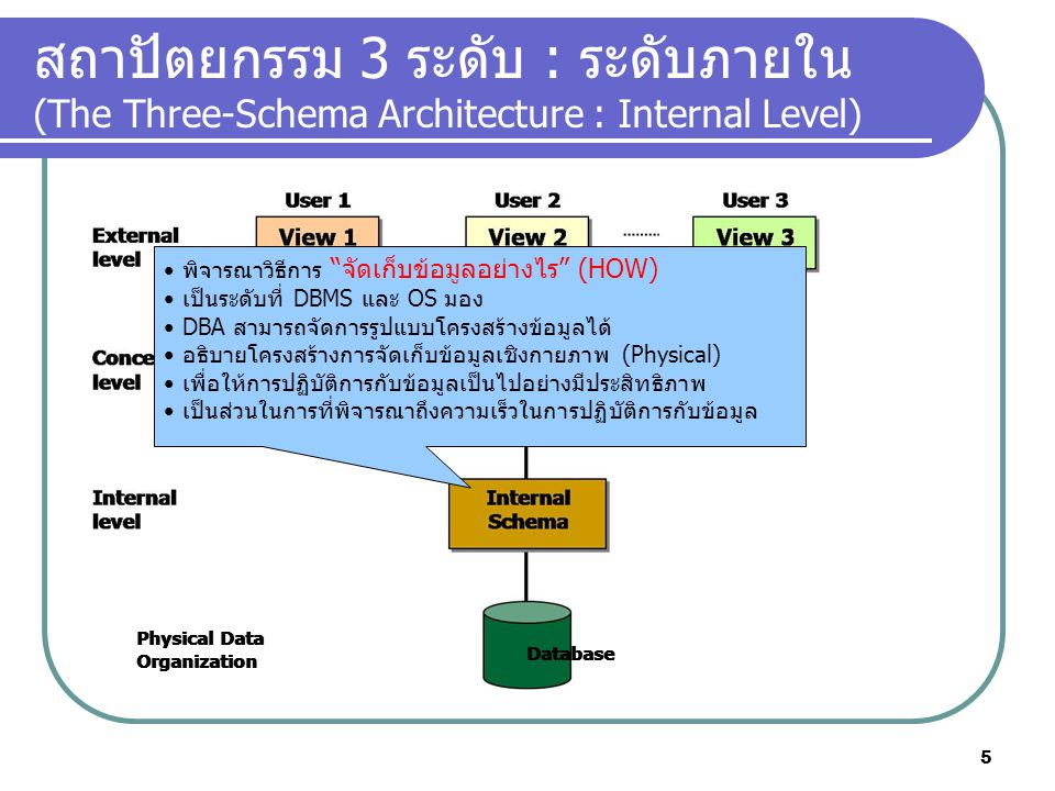 สถาปัตยกรรม 3 ระดับ : ระดับภายใน (The Three-Schema Architecture : Internal Level)