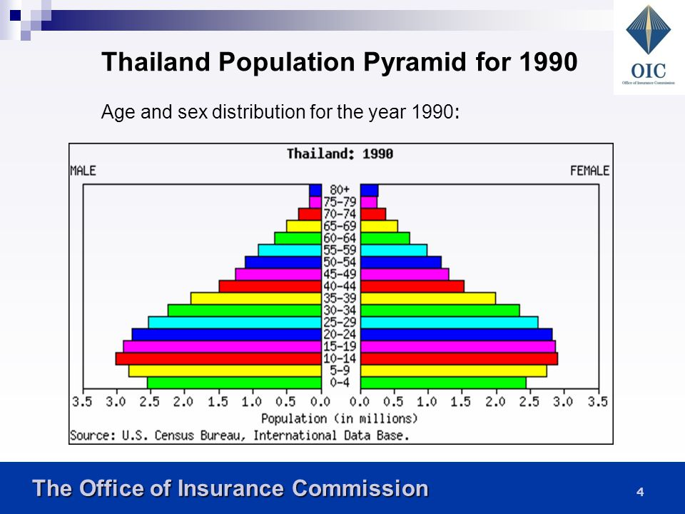 Thailand Population Pyramid for 1990