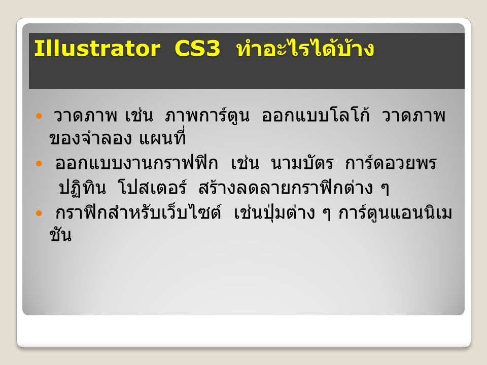 Illustrator CS3 ทำอะไรได้บ้าง