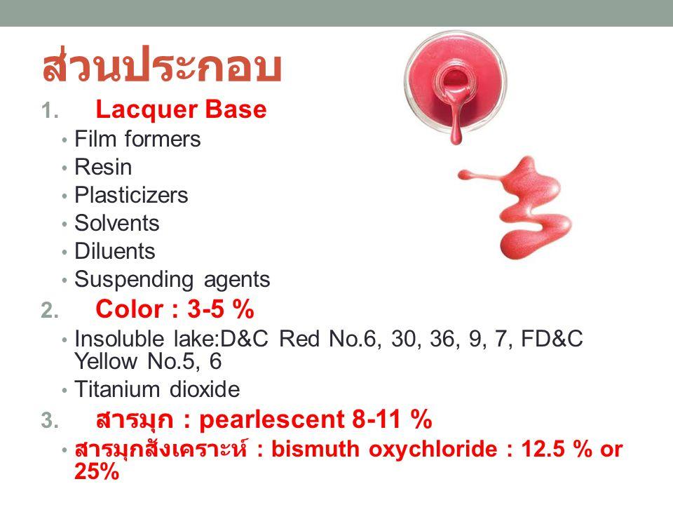 ส่วนประกอบ Lacquer Base Color : 3-5 % สารมุก : pearlescent 8-11 %