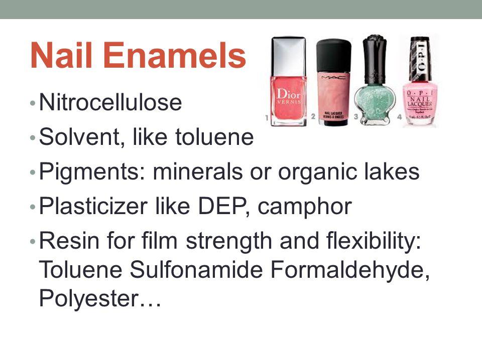 Nail Enamels Nitrocellulose Solvent, like toluene