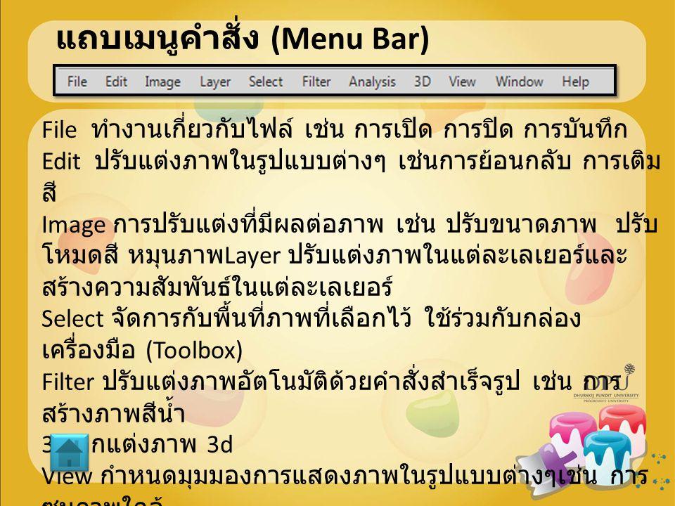 แถบเมนูคำสั่ง (Menu Bar)