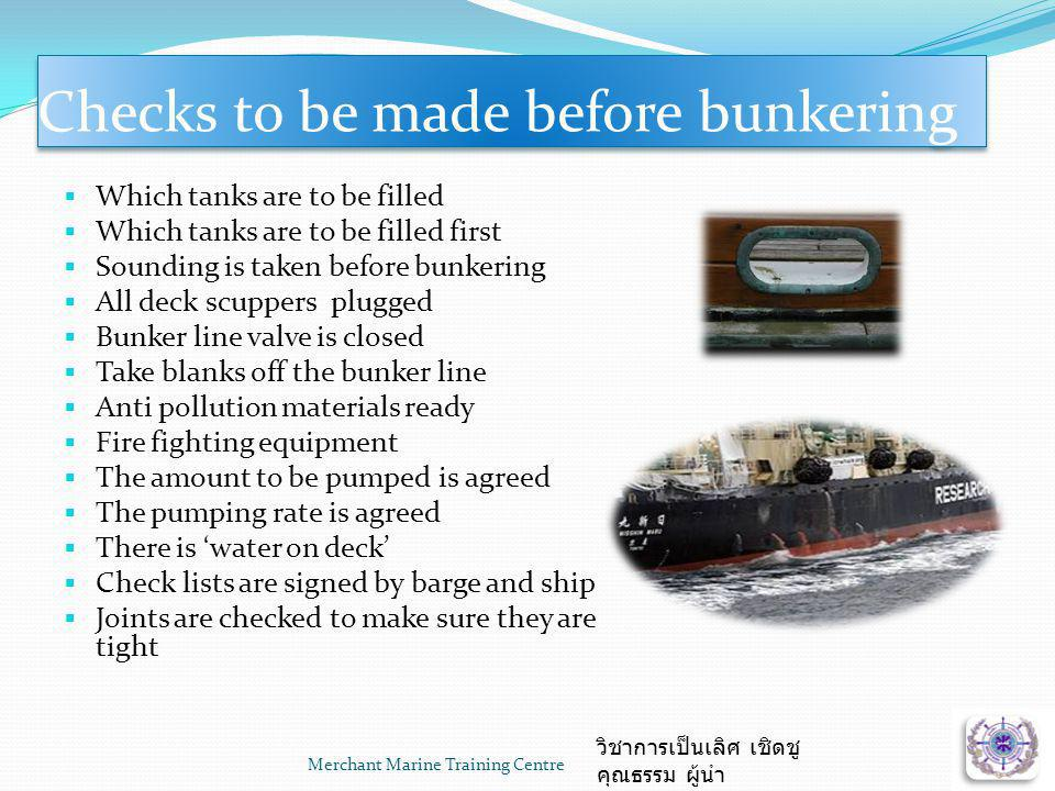 Checks to be made before bunkering