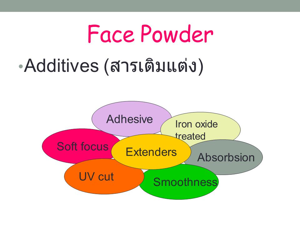 Face Powder Additives (สารเติมแต่ง) Adhesive Soft focus Extenders