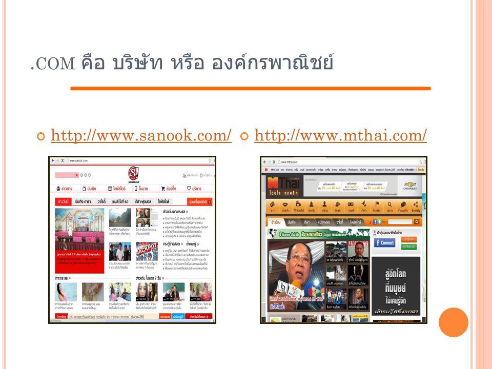 .com คือ บริษัท หรือ องค์กรพาณิชย์