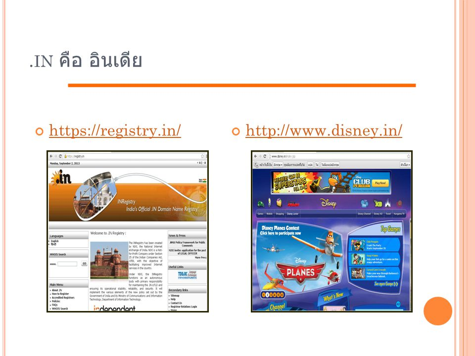 .in คือ อินเดีย https://registry.in/ http://www.disney.in/