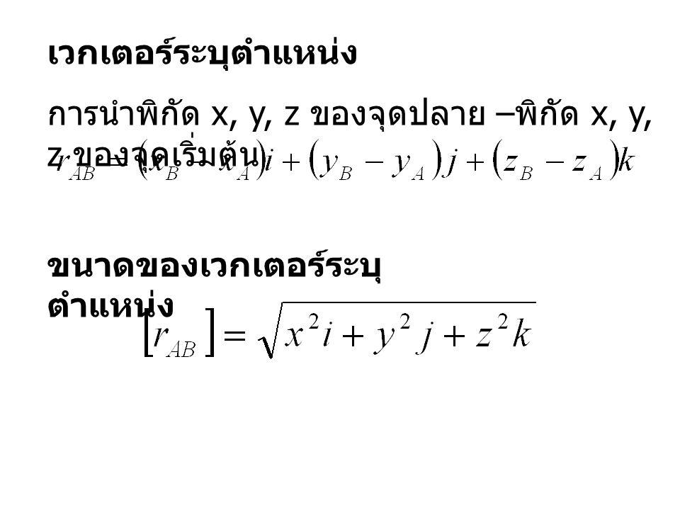 เวกเตอร์ระบุตำแหน่ง การนำพิกัด x, y, z ของจุดปลาย –พิกัด x, y, z ของจุดเริ่มต้น.
