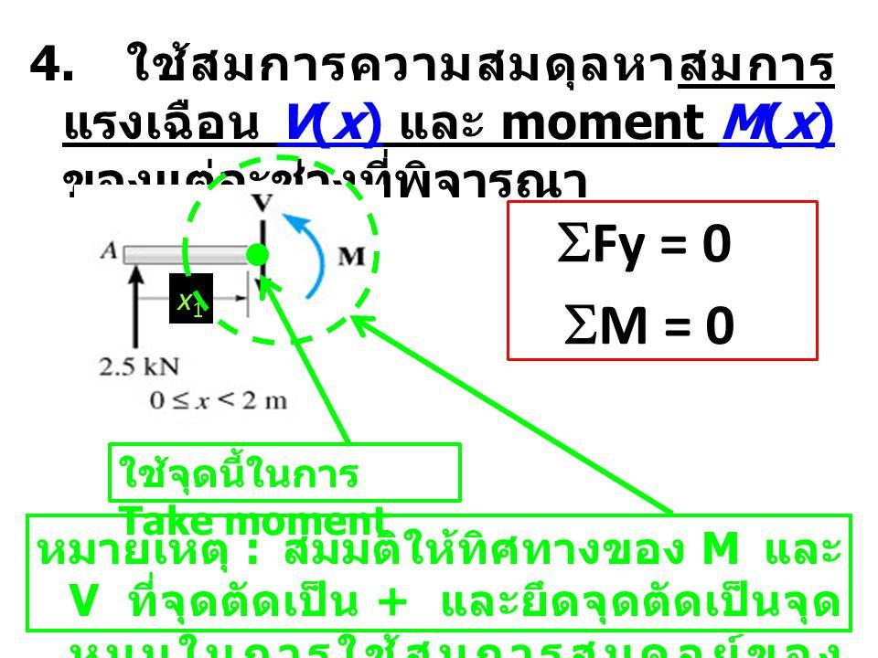 4. ใช้สมการความสมดุลหาสมการแรงเฉือน V(x) และ moment M(x) ของแต่ละช่วงที่พิจารณา
