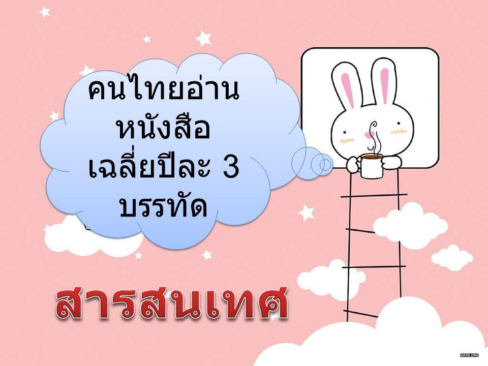 คนไทยอ่านหนังสือเฉลี่ยปีละ 3 บรรทัด