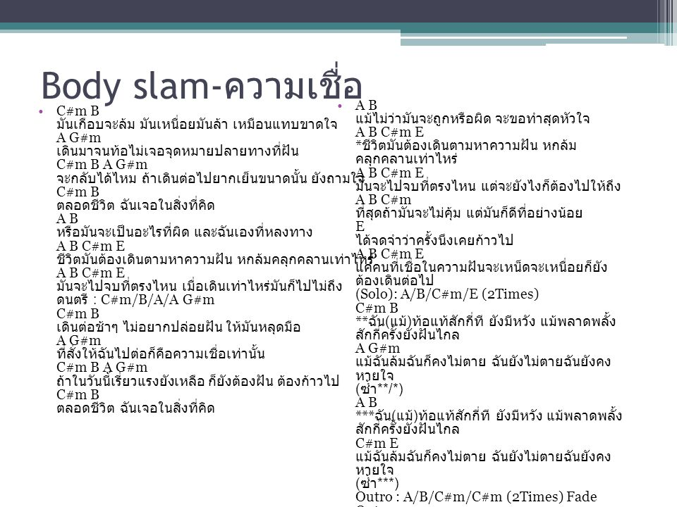 Body slam-ความเชื่อ