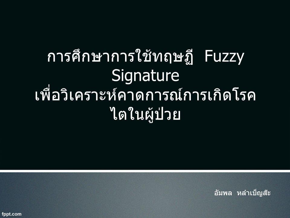 การศึกษาการใช้ทฤษฏี Fuzzy Signature เพื่อวิเคราะห์คาดการณ์การเกิดโรคไตในผู้ป่วย