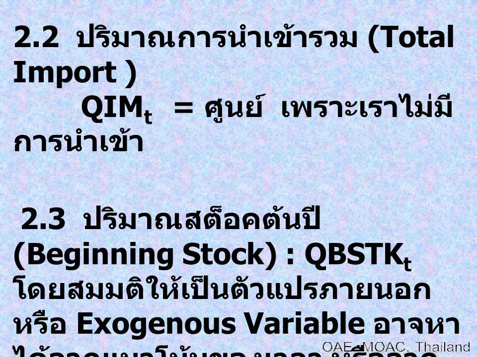 2.2 ปริมาณการนำเข้ารวม (Total Import )