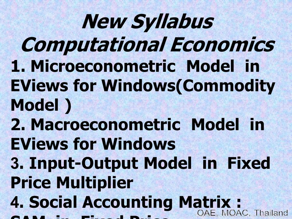 New Syllabus Computational Economics