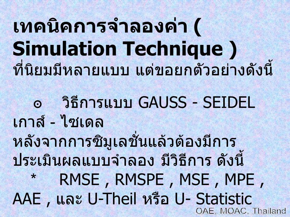 เทคนิคการจำลองค่า ( Simulation Technique )