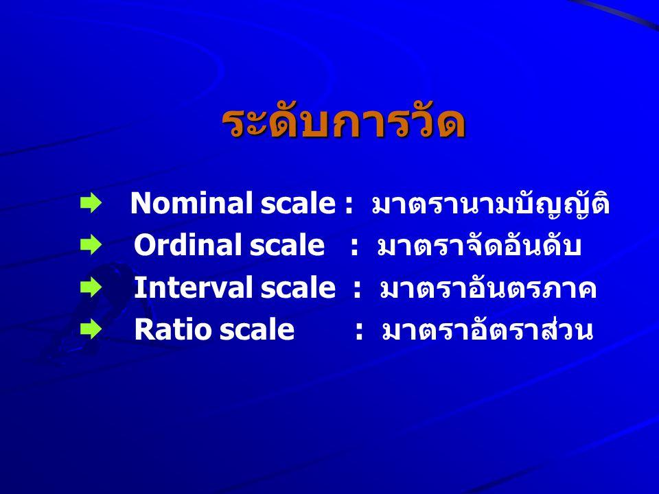 ระดับการวัด  Nominal scale : มาตรานามบัญญัติ