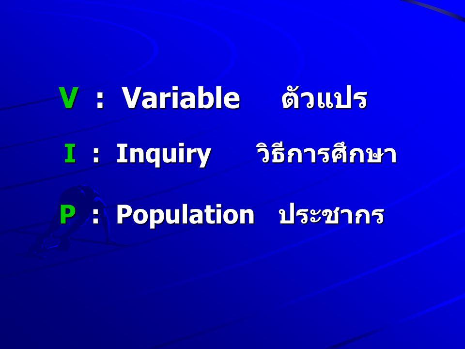 I : Inquiry วิธีการศึกษา