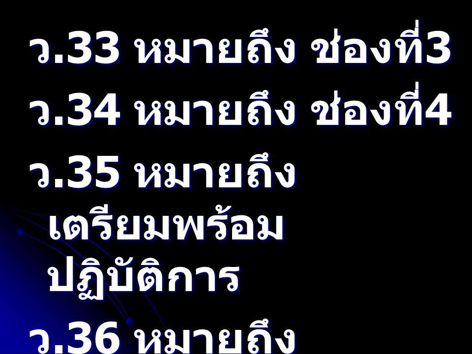 ว.33 หมายถึง ช่องที่3 ว.34 หมายถึง ช่องที่4. ว.35 หมายถึง เตรียมพร้อมปฏิบัติการ. ว.36 หมายถึง เตรียมพร้อมเต็มอัตรา.