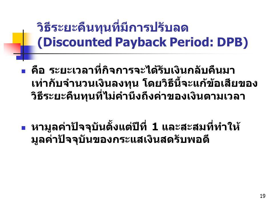 วิธีระยะคืนทุนที่มีการปรับลด (Discounted Payback Period: DPB)