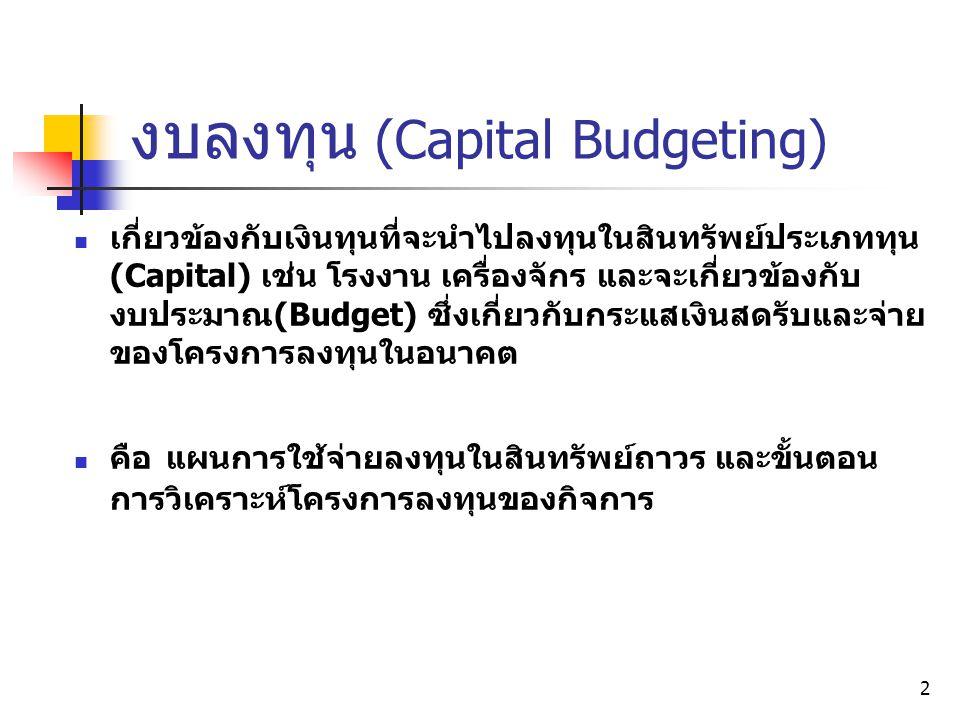 งบลงทุน (Capital Budgeting)