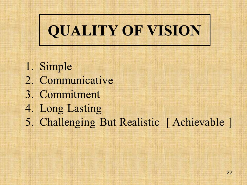 QUALITY OF VISION Simple Communicative Commitment Long Lasting