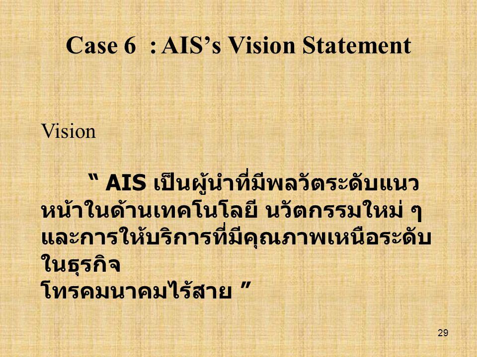 Case 6 : AIS's Vision Statement
