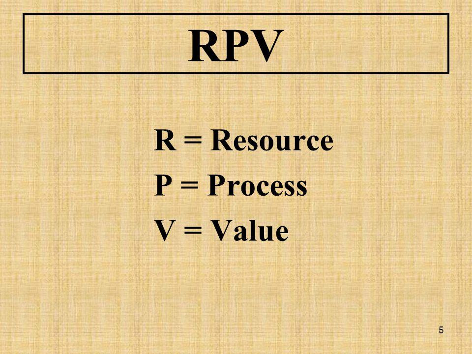 RPV R = Resource P = Process V = Value
