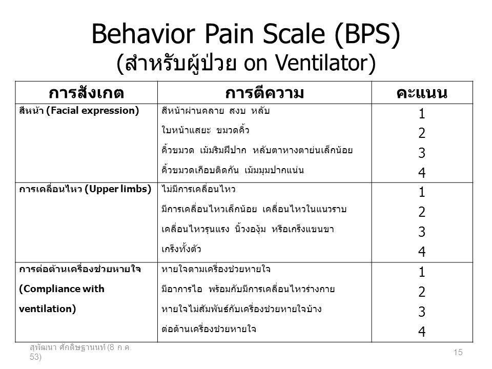 Behavior Pain Scale (BPS) (สำหรับผู้ป่วย on Ventilator)