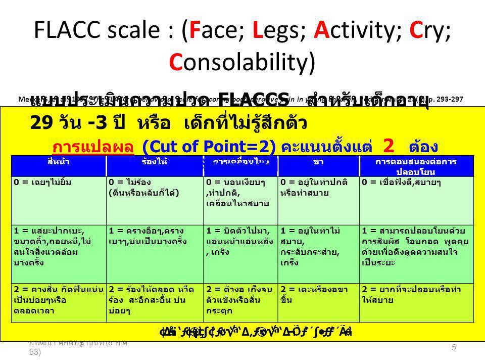 FLACC scale : (Face; Legs; Activity; Cry; Consolability)