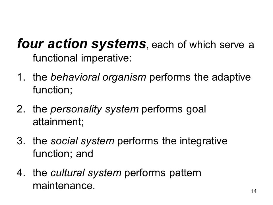 four action systems, each of which serve a functional imperative: